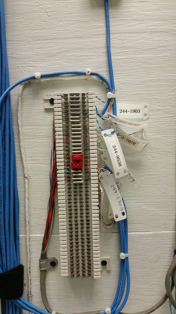 Telecom block, phone lines broken out